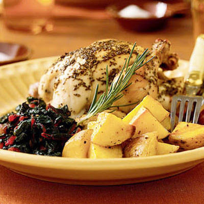 Rosemary-Lemon Cornish Hens with Roasted Potatoes
