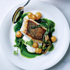 Seared Hake with Baby Potatoes and Green Sauce