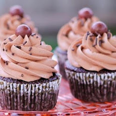 Double Chocolate Malt Shop Cupcakes W Cherry-Vanilla Buttercream