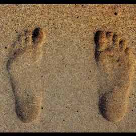 Footprints in the sand by Stephanie Örjas - Nature Up Close Sand ( sand, footprints, samos, beach, feets )