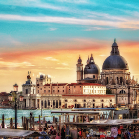 Venice, church of Santa Maria della Salute by Andrea Conti - City,  Street & Park  Vistas ( clouds, venezia, sky, church, italia, sunset, venice, santa maria della salute, italy, historic, city )
