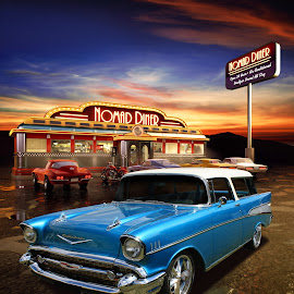 by Keith Hawley - Transportation Automobiles ( car, automotive, 1957 chevy, chevrolet, 1957, vintage, automobile, wagon, chevy nomad, chev, chevy, diner )