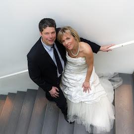 Wedding of Katia and Michel by Dimitri Haeck - Wedding Bride & Groom ( vrouw, white, cotume, kostuum, stairs, mantrap, wedding, woman, wit, huwelijk, zwart, black, man )