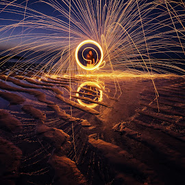 Steel Wool on the Beach by Eggy Sayoga - Abstract Light Painting ( circular, bali, reflection, steel wool, indonesia, beach, fire )