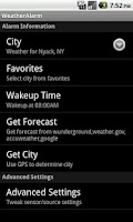 Screenshot of WeatherAlarm