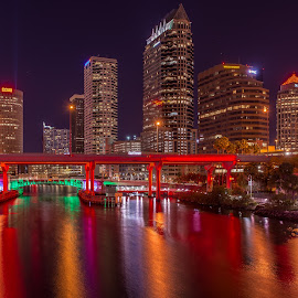 Tampa Reflections by Lynn Wiezycki - City,  Street & Park  Skylines ( skyline, color, tampa, reflections, night, river )