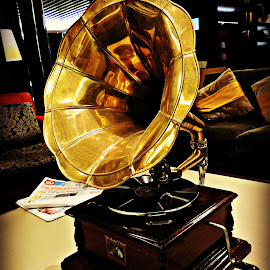 Antique Gramophone by Tamsin Carlisle - Artistic Objects Antiques ( gramophone, handle, technology, his master's voice, horn, record, dubai, vinyl, lounge, brass, hotel, antique, rca,  )