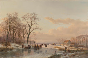 RIJKS: Andreas Schelfhout: A Frozen Canal near the River Maas 1867
