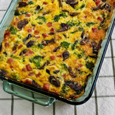 Broccoli, Mushrooms, Ham, and Cheddar Baked with Eggs