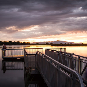 The Last Catch of the Day by Dallas Golden - Landscapes Waterscapes ( water, fish, sunset, pier, cloudy, lake, fisherman )