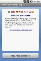 Screenshot of Spanish Word of the Day