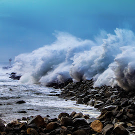 Angry Sea  by Eric Terhorst - Landscapes Waterscapes ( morro bay, morro rock, san luis obispo,  )