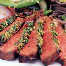 Grilled, Korean-Style Steaks With Spicy Cilantro Sauce