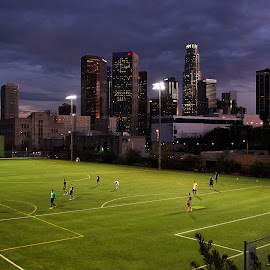 Soccer at Night by Andy Chinn - City,  Street & Park  Street Scenes ( soccer in a park, los angeles, los angeles soccer, los angeles night, soccer )