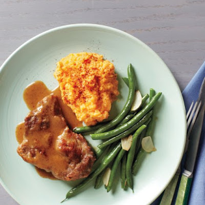 Chili-Braised Pork with Green Beans and Mashed Sweet Potatoes