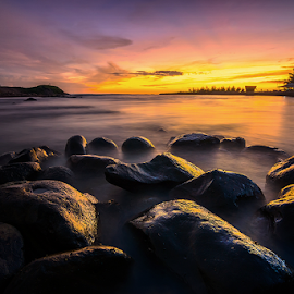 Panjalinan Stones at Dusk by Ade Noverzan - Landscapes Beaches ( sunset, twilight, beach, stones, dusk )