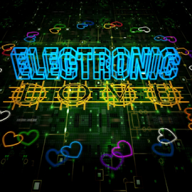 Electronic Love by Markham Mack - Typography Words ( valentine's day. holiday. harts. love.electronic. love. 3d graphics. )