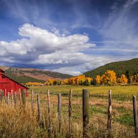 501 Red Barn by Nancy Young - Landscapes Prairies, Meadows & Fields ( bayfield, red, vallecito, hdr, barn, colorado, 501, landscape )