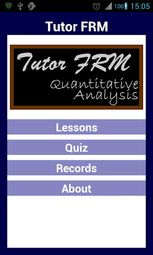 Tutor FRM 1 Quant Analysis