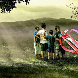 menanti angin by Herry West - Digital Art People ( wind, nature, kite, boys, blow )
