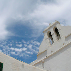 Heavens Above ! by Linda Boyer - Buildings & Architecture Places of Worship ( ibiza, tower, sky, church, blue, white, bells )