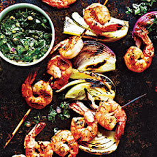 Shrimp and Fennel Kebabs with Italian Salsa Verde