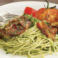Summer Herb Spaghetti with Crumbled Bacon