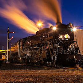 Milwaukee Road 261 Twilight by Ben Podolak - Transportation Trains ( locomotive, steam train, twilight, milwaukee road, semaphore )