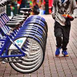 Charlotte Blue Bikes by Lou Plummer - Transportation Bicycles