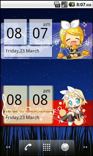 Chibi Rin Clock Widget 2x4