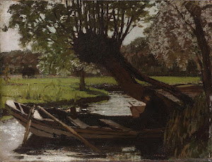 RIJKS: Matthijs Maris: Boat with a Pollard Willow 1863