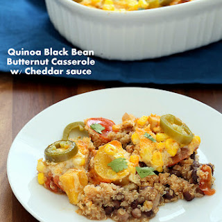 Vegan Quinoa Black Bean Casserole with Butternut and Cheddar Cream Sauce. Glutenfree