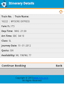 Screenshot of IRCTC Mobile Ticketing