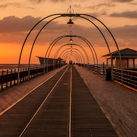 Pier sunset by Brian Leach - Landscapes Sunsets & Sunrises