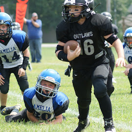 Youth football  by Jessica Williams Bender - Sports & Fitness American and Canadian football ( youth football, football, touchdown, falling )