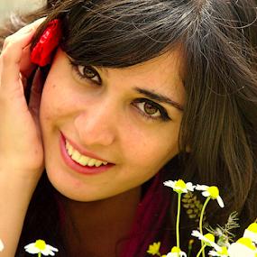 Wildflower by Selçuk Özkan - People Portraits of Women ( wildflowers, girl, wildflower, beautiful, daisy, poppy, beauty )
