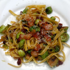 Fettuccine with Brussels Sprouts, Cranberries, and Caramelized Onions