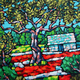 garden by Renco Gotovac - Painting All Painting ( red, tree, land, earth, house, garden, olive )