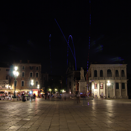 Venice by night by Renée Politzer Nass - City,  Street & Park  Street Scenes ( lamps, street, venice, night, restaurant )