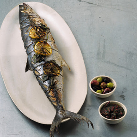 Grilled Whole Mackerel with Lemon, Oregano, and Olives
