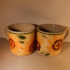 Hand-Painted Cups by Kathy Rose Willis - Artistic Objects Cups, Plates & Utensils ( painted, cups, pair, green, dishes, brown, yellow,  )