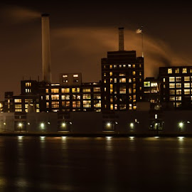 Domino Sugar by Kris Sokalski - Buildings & Architecture Public & Historical ( night photography, waterscape, long exposure, domino sugar, nightscape )