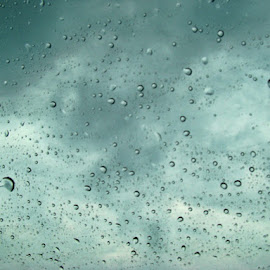 Rain On My Window by Yvonne Collins - Abstract Water Drops & Splashes ( car, abstract, window, water drops & splashes, rain )