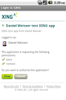 Screenshot of XING Sync