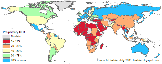 Map of the world showing pre-primary gross enrollment ratio for each country in 2002/03