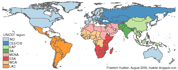 Map of the world with UNICEF regions