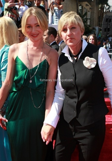 Photo of Ellen Degeneres and Portia de Rossi the couple married in Los Angeles on August 16, 2008
