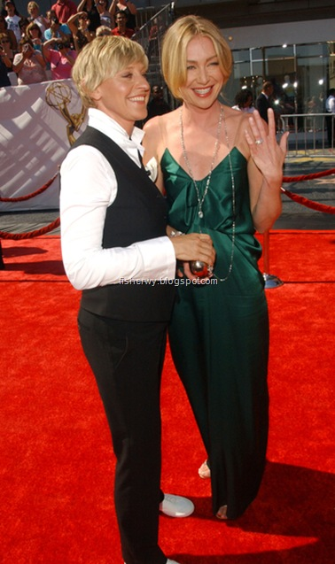 Photo of Ellen DeGeneres and Portia de Rossi who shows off a 3 carat pink diamond ring