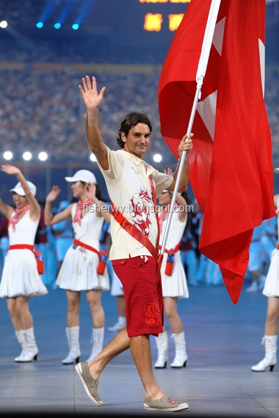 Picture of Roger Federer helding Swiss National Flag at Beijing Olympics opening ceremony