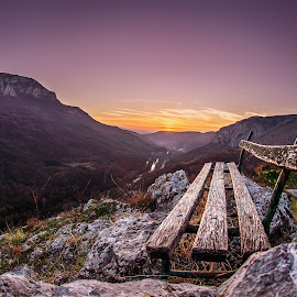 lonely bench by Stefan Spasić Spasa - Landscapes Sunsets & Sunrises ( bench, 2014, nis, serbia, sunset, lonely bench )